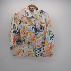 Koret Floral Print Long Sleeve Button Down Shirt